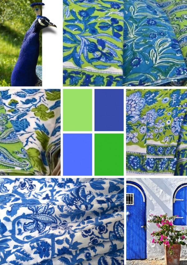 maxiröcke - blue and green